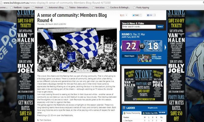 Bulldogs fan blog 26.3.13 by Antonina Cocilovo