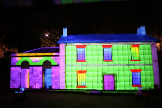 Cadmans Cottage during Vivid Sydney.