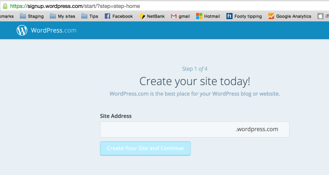 Step 1 WordPress.com